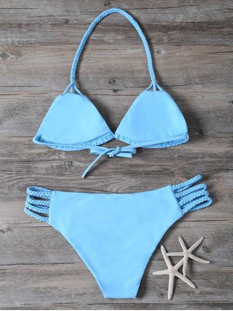 outfit Cutout Braided Bikini Set - BLUE S Mobile