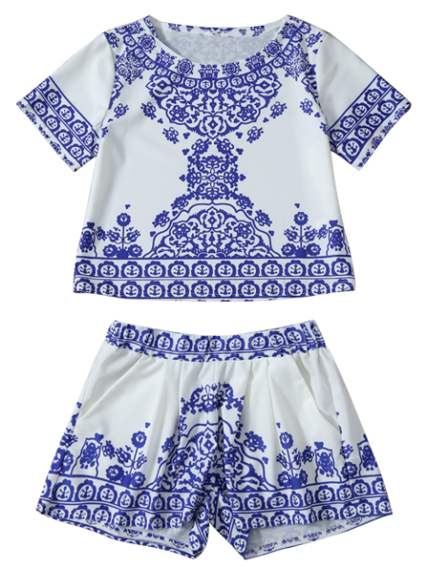 womens Cropped Short Sleeve T-Shirt and Shorts Set - BLUE AND WHITE M Mobile