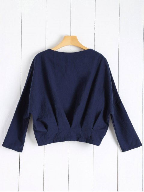 chic Solid Color Batwing Sleeve Round Neck Jacket - DEEP BLUE S Mobile