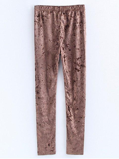 outfit Skinny Velvet Leggings - KHAKI S Mobile
