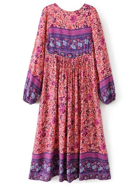 outfit Long Sleeve Ethnic Printed Midi Dress - JACINTH L Mobile