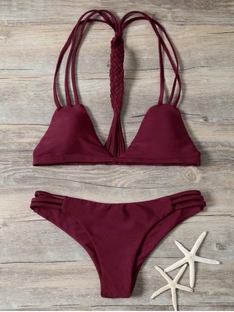 ladies Braided Strappy Padded Bikini - BURGUNDY S Mobile