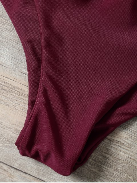 women Braided Strappy Padded Bikini - BURGUNDY L Mobile
