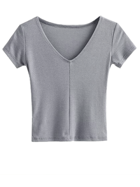 womens Cropped Knitting T-Shirt - GRAY S Mobile