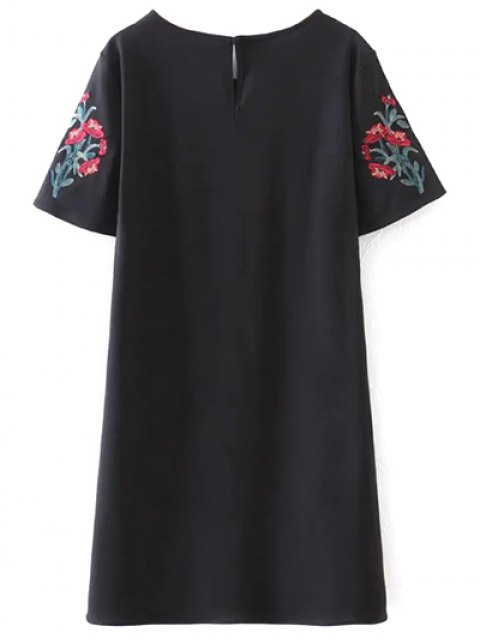 hot Embroidered Sleeve A Line Dress - BLACK L Mobile