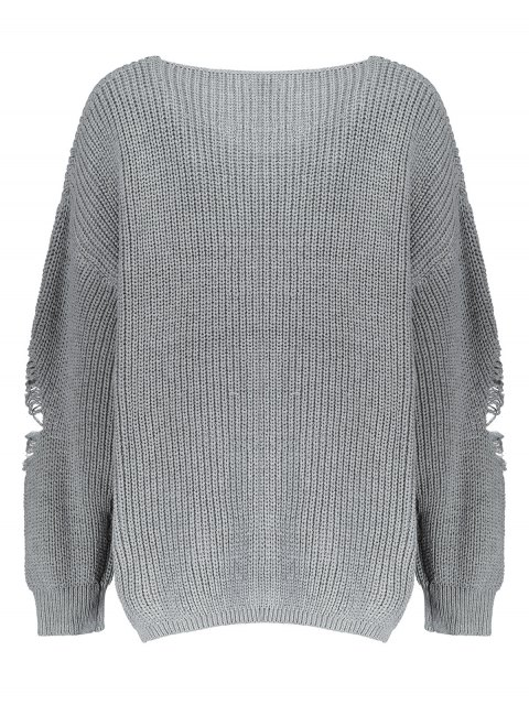shop Plus Size Distressed Longline Pullover Sweater - GRAY 5XL Mobile