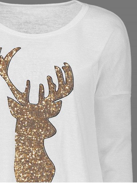 shop Sequins Elk Graphic Tee - WHITE M Mobile