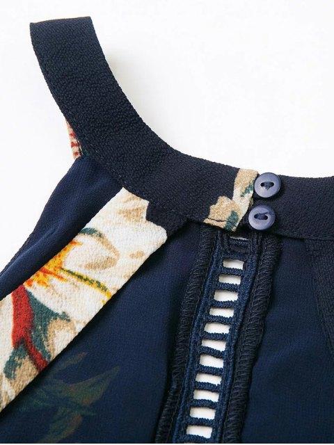 hot Backless Floral Dress With Ladder Detail - PURPLISH BLUE S Mobile