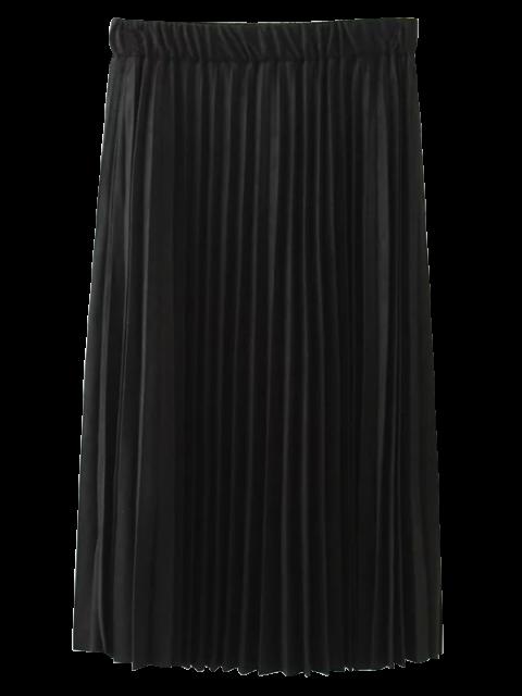 fancy Elastic Waist Pleated Faux Suede Skirt - BLACK XL Mobile