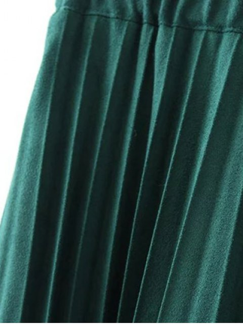 affordable Elastic Waist Pleated Faux Suede Skirt - SILVER XL Mobile