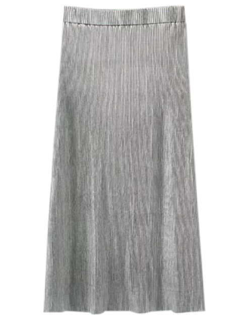 lady Glitter Pleated Midi Skirt - SILVER S Mobile