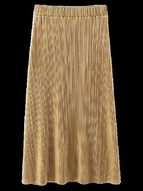 new Glitter Pleated Midi Skirt - GOLDEN S Mobile