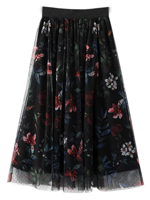 outfits Layered Tulle Floral Skirt - BLACK S Mobile