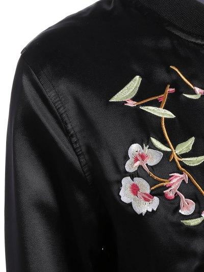 Stand Neck Pockets Floral Embroidery Jacket - BLACK S Mobile