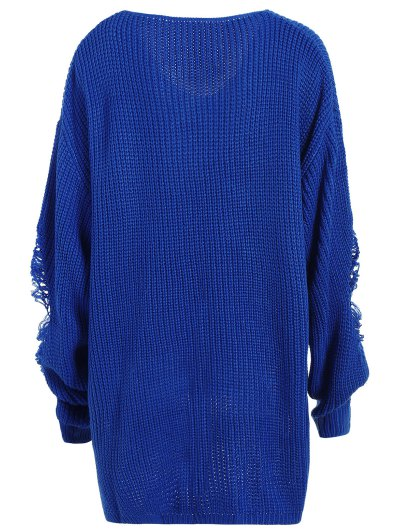 Plus Size Distressed Longline Pullover Sweater - BLUE 4XL Mobile
