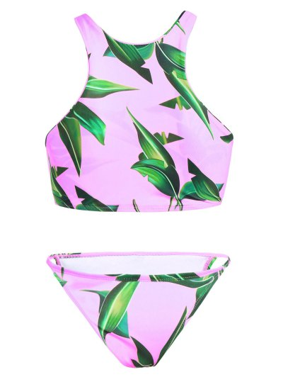 V String Printed High Neck Bikini - PINK M Mobile