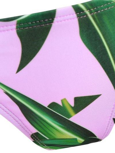 V String Printed High Neck Bikini - PINK S Mobile