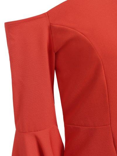 Off The Shoulder Slit Pencil Dress - RED L Mobile
