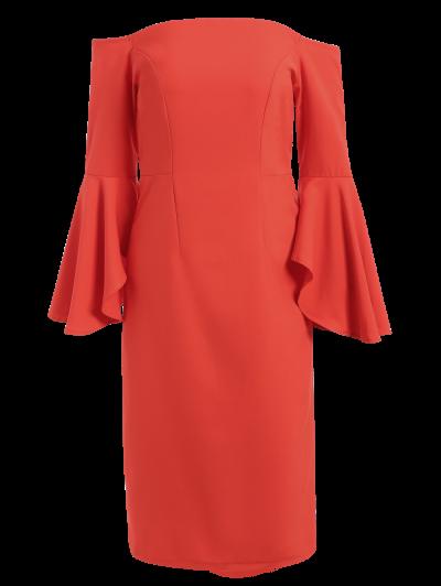 Off The Shoulder Slit Pencil Dress - RED S Mobile
