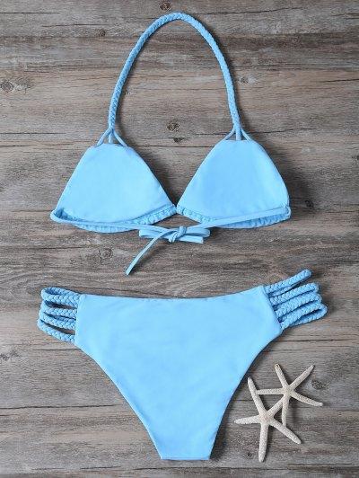 Cutout Braided Bikini Set - BLUE L Mobile