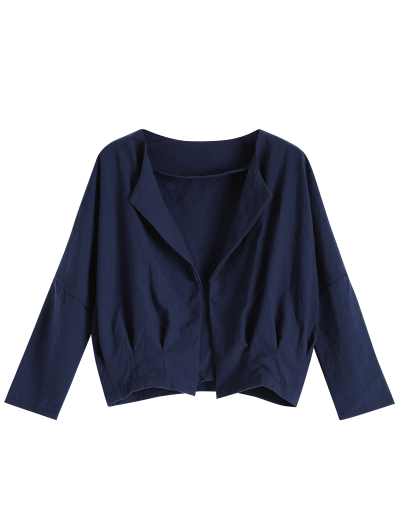 Solid Color Batwing Sleeve Round Neck Jacket - DEEP BLUE L Mobile