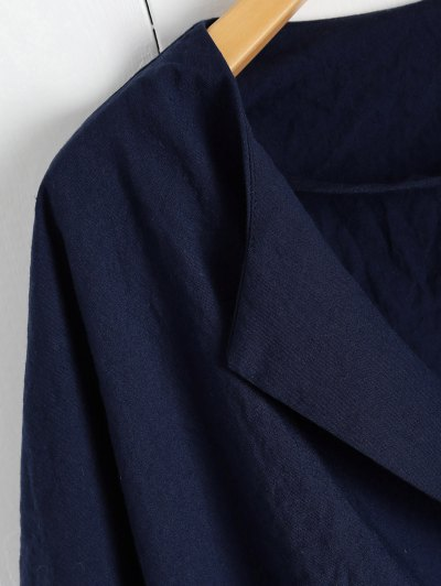 Solid Color Batwing Sleeve Round Neck Jacket - DEEP BLUE S Mobile