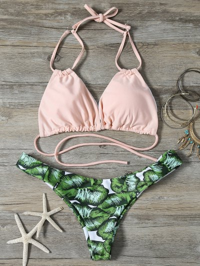 String Low Cut Tropical Print Bikini Set - GREEN XL Mobile