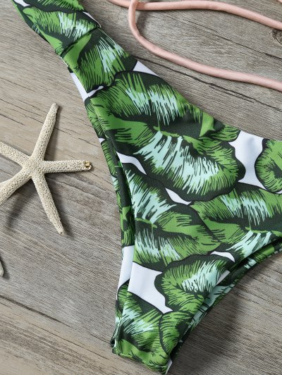 String Low Cut Tropical Print Bikini Set - GREEN L Mobile