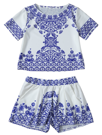 Cropped Short Sleeve T-Shirt and Shorts Set - BLUE AND WHITE M Mobile