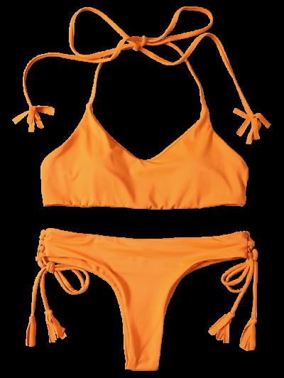 Tassels Lace-Up Bikini Set - ORANGEPINK S Mobile