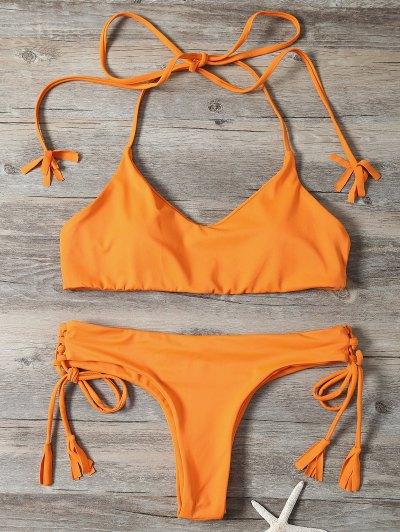 Tassels Lace-Up Bikini Set - Orangepink