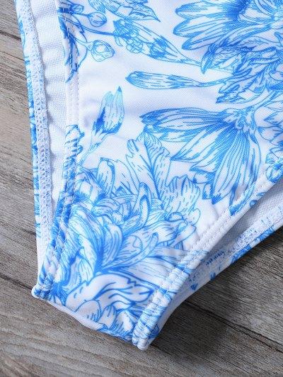 Printed String Cut Out Bikini Set - BLUE L Mobile