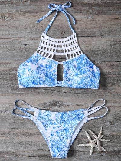 Printed String Cut Out Bikini Set - BLUE M Mobile