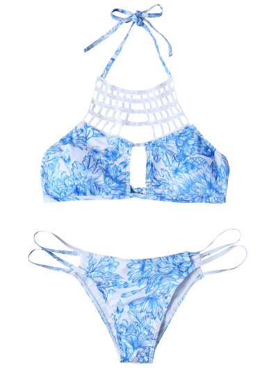 Printed String Cut Out Bikini Set - BLUE S Mobile