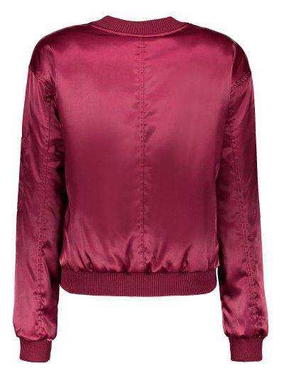 Zipped Windbreaker Jacket - WINE RED M Mobile