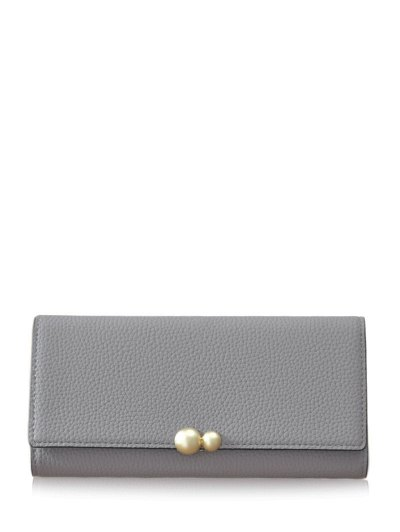 Textured Tri Fold Clutch Wallet - GRAY  Mobile