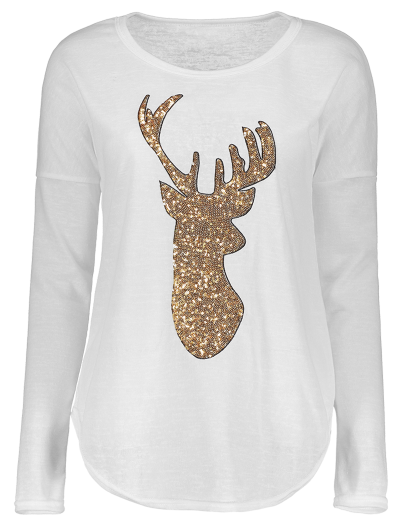 Sequins Elk Graphic Tee - WHITE S Mobile