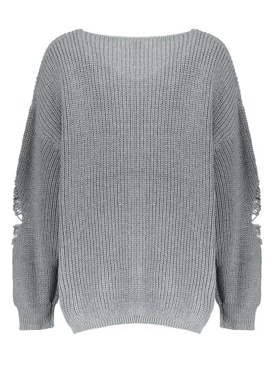 Plus Size Distressed Longline Pullover Sweater - GRAY 5XL Mobile