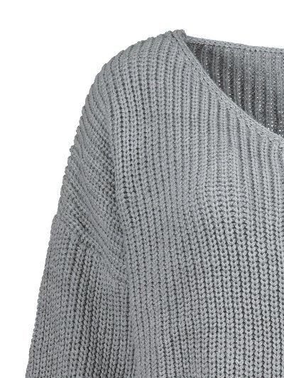 Plus Size Distressed Longline Pullover Sweater - GRAY XL Mobile