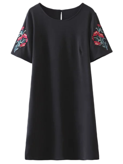 Embroidered Sleeve A Line Dress - Black