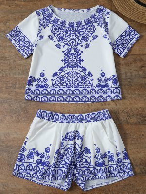 Cropped Short Sleeve T-Shirt And Shorts Set - Blue And White