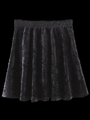 Velvet Mini A-Line Skirt - Black