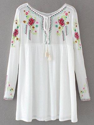 Drawstring Embroidered Floral Smock Vintage Dress - White