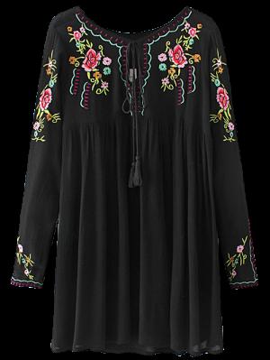 Drawstring Embroidered Floral Smock Vintage Dress - Black