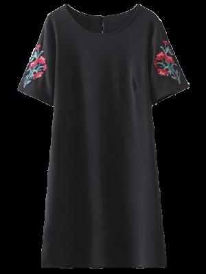 Embroidered Sleeve A Line Dress - Black