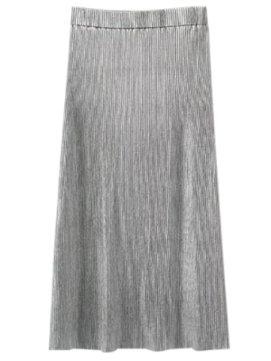 Glitter Pleated Midi Skirt - Silver