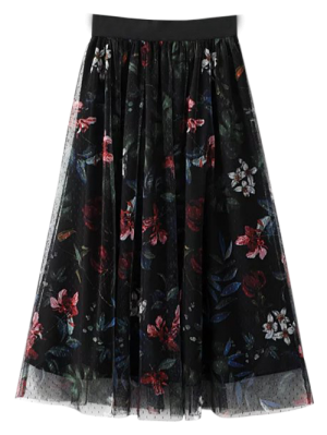 Layered Tulle Floral Skirt - Black