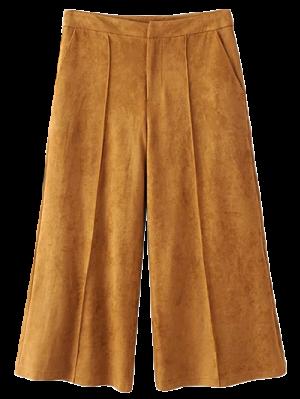 Pantalon Gaucho En Faux Suède - Kaki Foncé