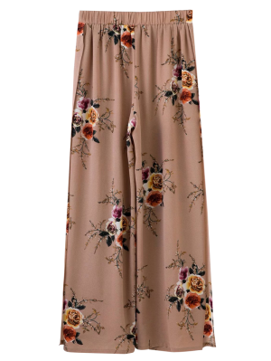 Slit Floral Wide Leg Pants - Pale Pinkish Grey
