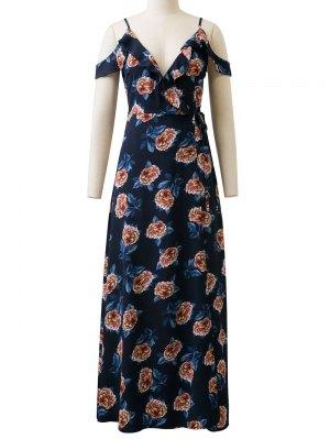 Floral Cold Shoulder Maxi Dress - Blue